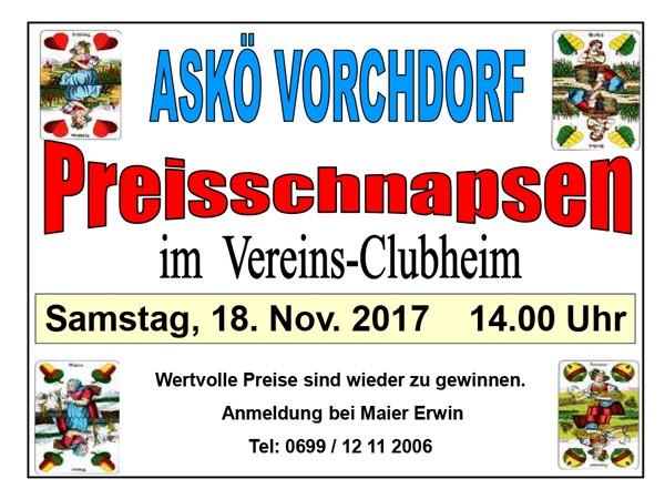 Plakat Preisschnapsen 2017 Askö Schachner Vorchdorf
